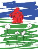 Gay Male Family. A child-like drawing of a pair of gay males, and their kids.  Vector drawing in eps format Stock Images
