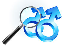 Gay Male Gender Symbols Under Magnifying Glass Royalty Free Stock Photos