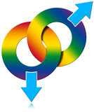 Gay Male Rainbow Colored Symbol. Two Male symbols rainbow colored on white background - gay relationship Stock Photo