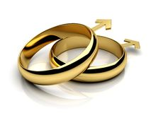 Gay male wedding rings. On a white reflective  background. 3D render Stock Photography