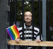 Gay man dressed in prisoners clothes at Gay Pride 2014 in Copenh Royalty Free Stock Image
