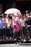 Gay man with pink umbrella stock photos
