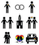 Gay man 2 wedding icon set in black and white with rainbow element Royalty Free Stock Photo