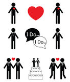 Gay man wedding icon set t icons Stock Photo