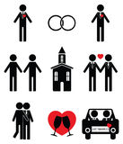 Gay man wedding 2 icons set. In black and white Stock Photography