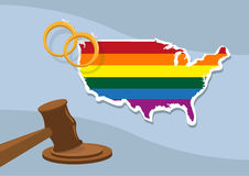 Gay Marriage Approve Nationwide in the United States. Supreme Court approves gay marriage across United States of America. Shown are Rings, LGBT Map and Judge's royalty free illustration