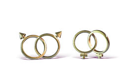 Gay Marriage_B. Two sets of interlocking wedding rings, suggesting gay marriage. White background Stock Images