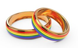 Gay Marriage Concept with Rainbow Rings. Royalty Free Stock Photos