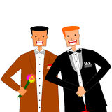 Gay marriage. Happy freshly married gay couple of men on a white background vector illustration