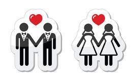 Gay marriage labels. Lesbian, gay wedding glossy icons set Royalty Free Stock Photo