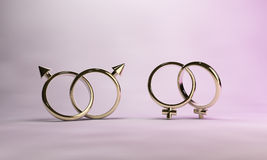 Gay Marriage. Two sets of interlocking wedding rings, suggesting gay marriage Stock Photo