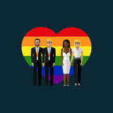 Gay marriage vector flat illustration. Royalty Free Stock Photo