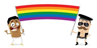 Gay men with big rainbow flag. Clipart of gay men with big rainbow flag Royalty Free Stock Images