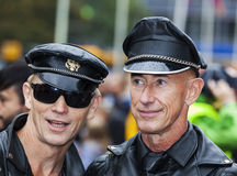 Gay men dressed in leather at Gay Pride 2014 in Copenhagen Stock Photos