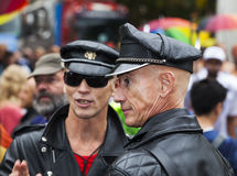 Gay men dressed in leather at Gay Pride 2014 in Copenhagen Royalty Free Stock Image