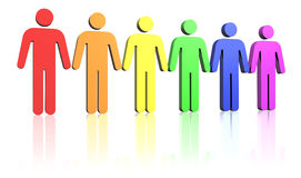 Gay-men-flag. Gay flag colored row of man signs Royalty Free Stock Photography