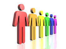 Gay men flag side. A row of gay flag colored man signs Royalty Free Stock Photos