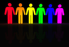 Gay men glow. Rainbow colored 3d glowing men symbols Stock Photo