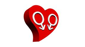 Gay men love. Two male symbols representing a gay couple in red heart in white background Royalty Free Stock Photos