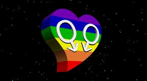 Gay men love in the night. Two male symbols representing a gay couple in rainbow color heart by night with stars Stock Photography