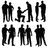 Gay men. Set of black silhouettes happy gay couples vector illustration