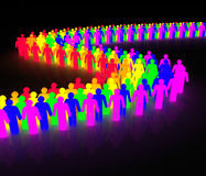Gay men wave. Rainbow wave made of multicolored man character Royalty Free Stock Images