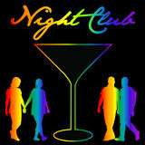 Gay night club background with silhouettes of gay and lesbians Stock Photos
