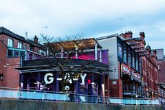 Gay night club in Manchester. MANCHESTER, UNITED KINGDOM - 5 March, 2016: Evening view of the G-A-Y night club on Canal Street in the Gay Village part of Stock Photo
