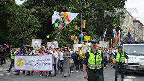 Gay parade flying flags stock video footage