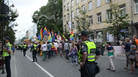 Gay parade media police stock footage