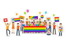 Gay parade. People with placards. Sexual revolution or free love. Holiday, celebration, festivity vector illustration. Gay parade. People with placards. Sexual royalty free illustration