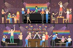 Gay party at club. stock illustration