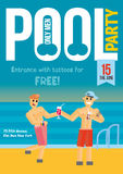 Gay Pool Party. Template for poster design. Stock Image