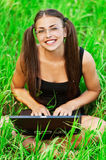 Gay pretty young woman glasses Royalty Free Stock Images