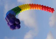 GAY PRIDE BALLOON FLAG. This Gay Pride Flag, made completely of balloons, hung over one of the country's largest Gay Prode Festivals Royalty Free Stock Photography