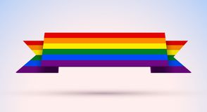 Free Gay Pride Banner With Rainbow Colored Flag For Pride Month Stock Photo - 137548970