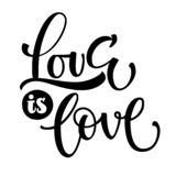 Gay Pride black text Love is Love vector illustration