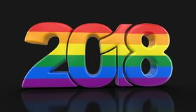 Gay Pride Color New Year 2018 Illustrazione di Stock