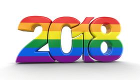 Gay Pride Color New Year 2018 Stock de ilustración