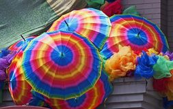 Gay Pride decorations. Rainbow colored umbrellas, Gay Pride decorations Stock Image