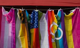 Gay Pride Festival and Rainbow flags. Gay Pride Festival in Providence, Rhode Island with rainbow flags stock photos