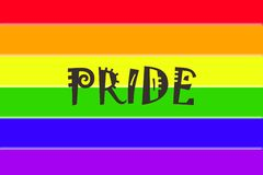 Gay Pride Flag. Colorful Gay Pride flag with the word Royalty Free Stock Images