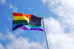 Gay Pride Flag. The multi-colored Gay Pride Flag was developed in the early 1970's and is designed to demonstrate diversity stock photography