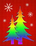 Gay Pride Flag Christmas Tree Card 2. A clip art illustration featuring the gay pride flag colors within the Christmas tree and snowflakes in white silhouette Royalty Free Stock Images