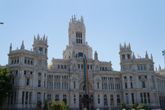 Gay pride flag at the city hall of Madrid Stock Image
