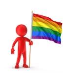 Gay Pride Flag del hombre y del arco iris Imagen de archivo libre de regalías