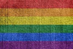 Gay Pride Flag Denim Jeans imagen de archivo libre de regalías
