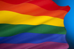 Gay Pride Flag - Homosexuality. The rainbow flag or gay pride flag, is a symbol of lesbian, gay, bisexual, and transgender pride. It originated in California stock image