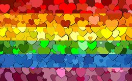Gay pride flag made of hearts background. Illustration, Rainbow flag with hearts background vector illustration
