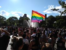 Gay Pride Flag, NYC Pride Parade 2019, WorldPride, World Pride, Greenwich Village, Washington Square Park, NYC, NY, USA